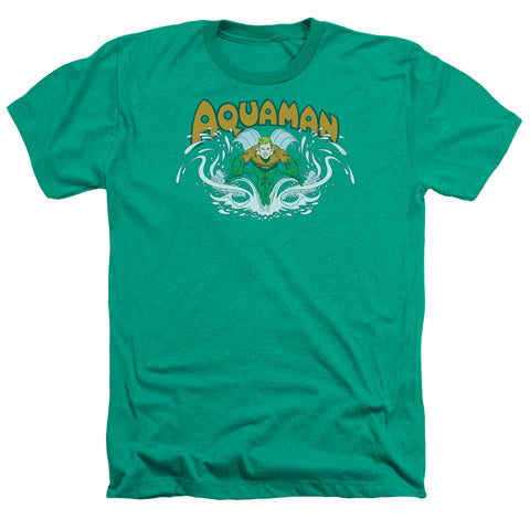 Aquaman Aquaman Splash Men's 30/1 Heather 60 40 Poly SS T
