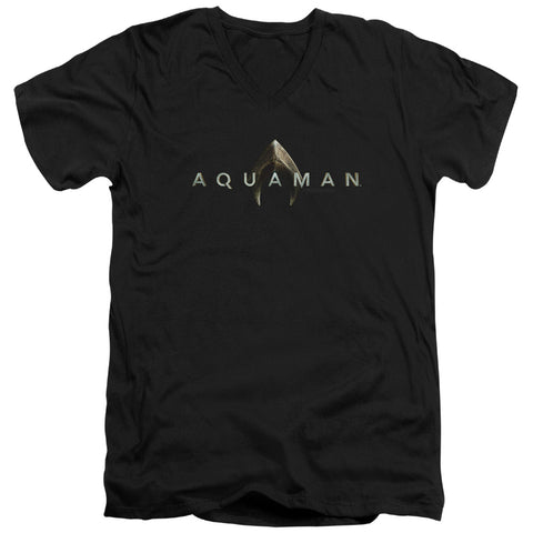 Aquaman Movie Logo Men's 30/1 Cotton Slim V-Neck T