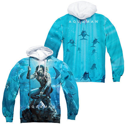 Aquaman Movie Poster (Front/Back Print) Men's Sublimated Pull-Over Hoodie
