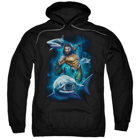 Aquaman Movie Swimming With Sharks Men's Pull-Over 75 25 Poly Hoodie
