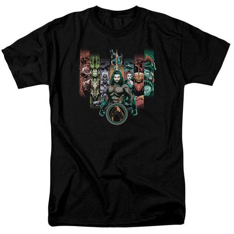 Aquaman Movie Unite The Kingdoms Men's 18/1 Cotton SS T
