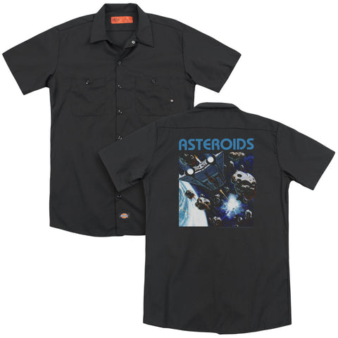 Atari 2600 Asteroids (Back Print) Men's Cotton Poly SS Work Shirt