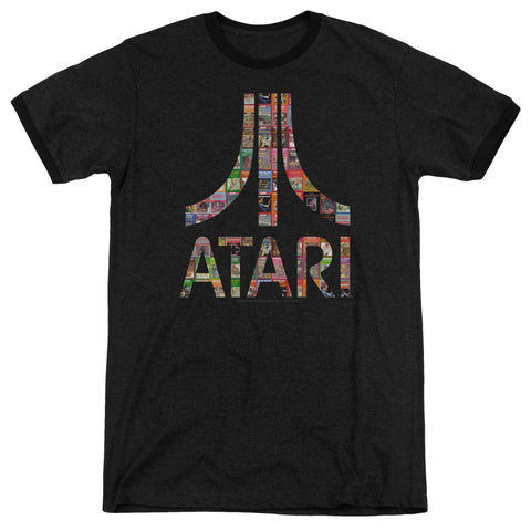 Atari Box Art Men's 30/1 Heather Ringer 50 50 Poly SS T