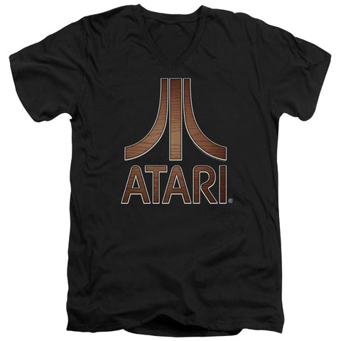 Atari Classic Wood Emblem Men's 30/1 Cotton Slim V-Neck T