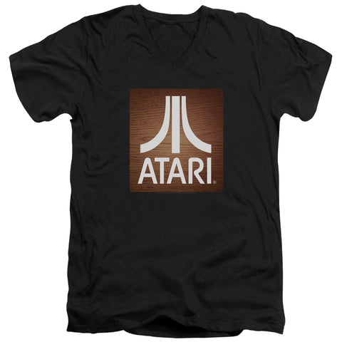 Atari Classic Wood Square Men's 30/1 Cotton Slim V-Neck T