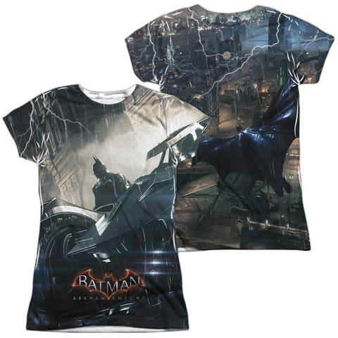 Batman Arkham Knight Comics Into The Night (Front/Back Print) Junior's Poly Cap-Sleeve T
