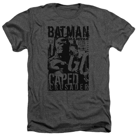 Batman Caped Crusader Men's 30/1 Heather 60 40 Poly SS T