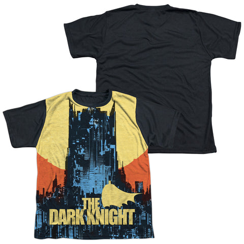 Batman Comics Bat Building Youth Black Back Poly Regular Fit SS T