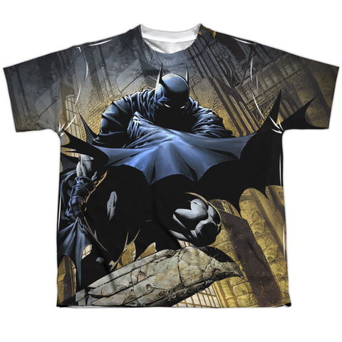 Batman Comics In Shadow Youth Regular Fit Poly SS T
