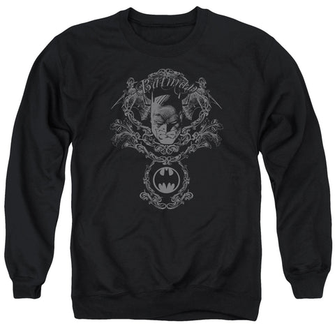 Batman Dark Knight Heraldry Men's Crewneck 50 50 Poly LS T