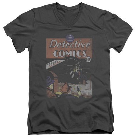Batman Detective #27 Distressed Men's 30/1 Cotton Slim V-Neck T