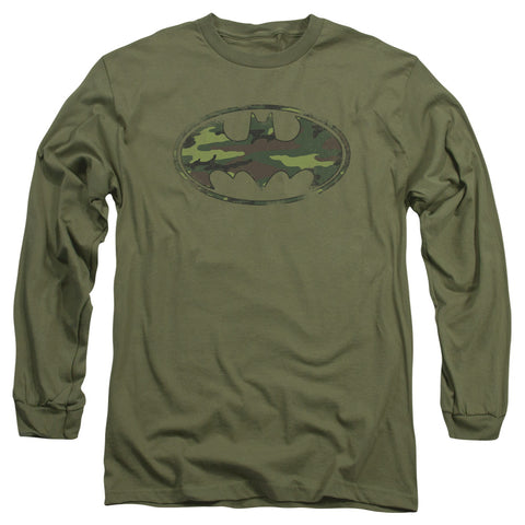 Batman Distressed Camo Shield Men's 18/1 Cotton LS T