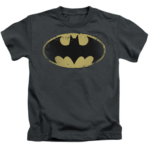 Batman Distressed Shield Juvenile 18/1 Cotton SS T