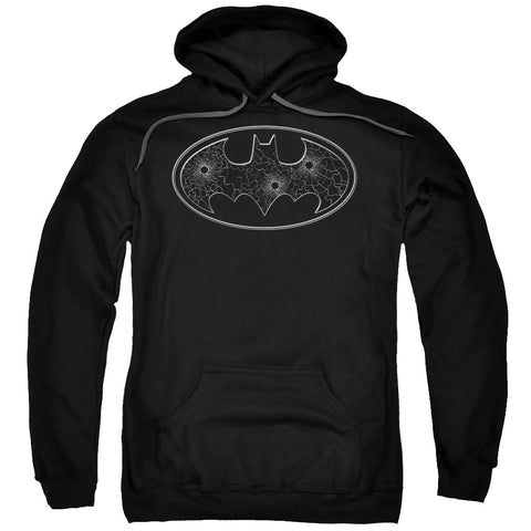 Batman Glass Hole Logo Men's Pull-Over 75 25 Poly Hoodie