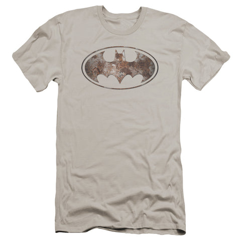 Batman Heavy Rust Logo Men's Ultra-Soft 30/1 Cotton Slim SS T