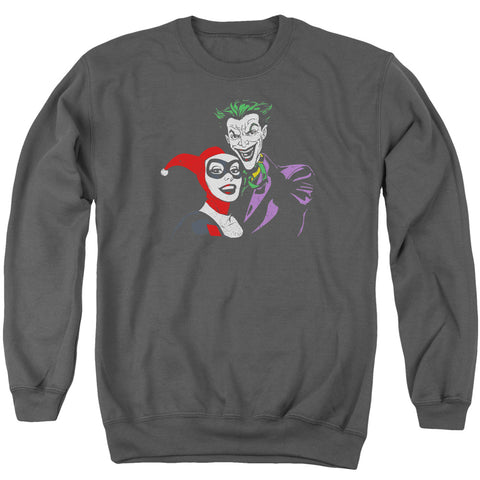 Batman Joker & Harley Men's Crewneck 50 50 Poly LS T