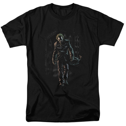 Batman Joker Leaves Arkham Men's 18/1 Cotton SS T