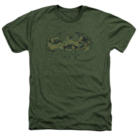 Batman Marine Camo Shield Men's 30/1 Heather 60 40 Poly SS T