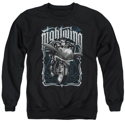 Batman Nightwing Biker Men's Crewneck 50 50 Poly LS T