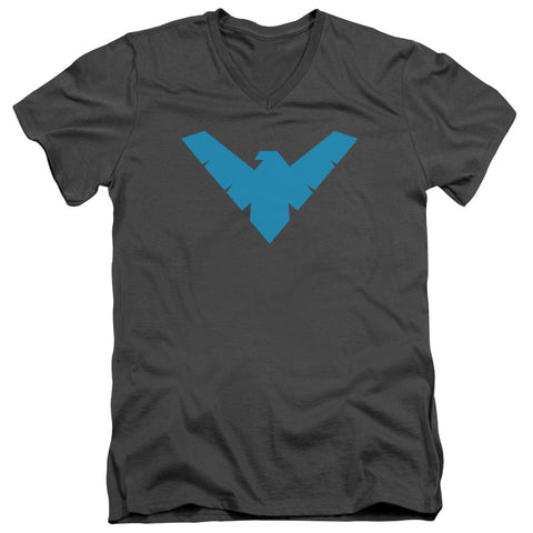 Batman Nightwing Symbol Men's 30/1 Cotton Slim V-Neck T
