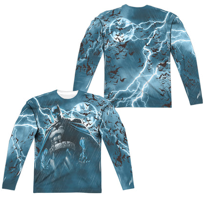 Batman Stormy Knight (Front/Back Print) Men's Regular Fit Polyester LS T