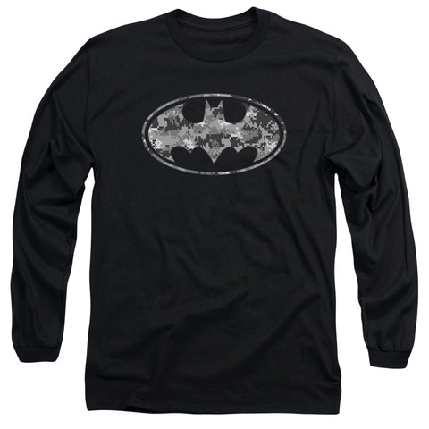 Batman Urban Camo Shield Men's 18/1 Cotton LS T