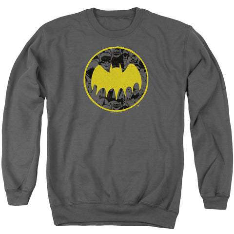 Batman Vintage Symbol Collage Men's Crewneck 50 50 Poly LS T