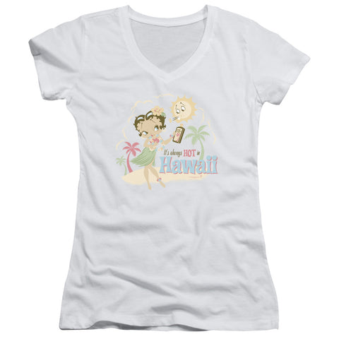 Betty Boop Hot In Hawaii Junior's 30/1 Cotton Cap-Sleeve V-Neck T