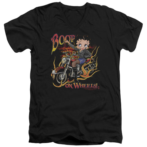Betty Boop On Wheels Men's 30/1 Cotton Slim V-Neck T