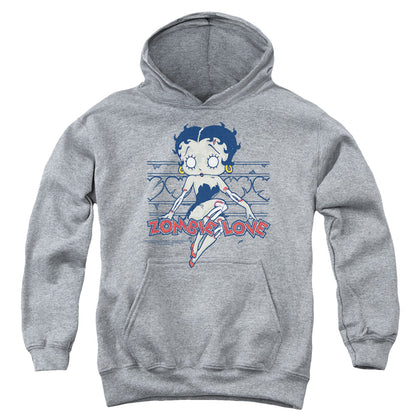 Betty Boop Zombie Pinup Youth Cotton Poly Pull-Over Hoodie