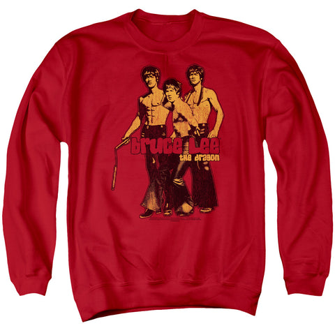 Bruce Lee Nunchucks Men's Crewneck 50 50 Poly LS T