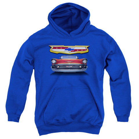 Chevrolet 1957 Bel Air Grille Youth Cotton Poly Pull-Over Hoodie