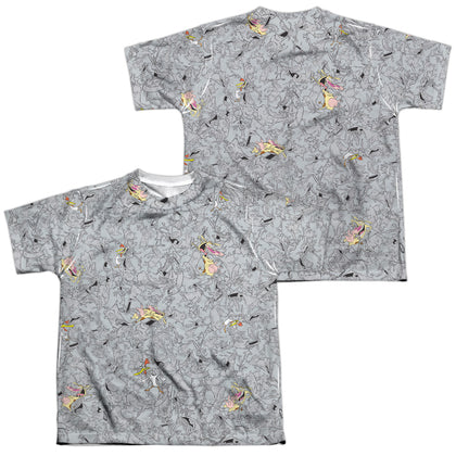 Cow And Chicken Cow Chicken Pattern (Front/Back Print) Youth Regular Fit Poly SS T