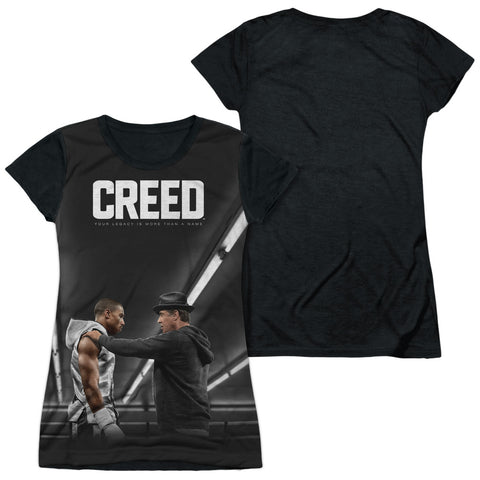Creed Poster Junior's Black Back Poly Cap-Sleeve T
