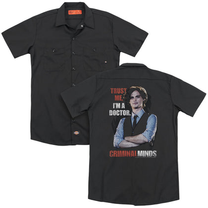 Criminal Minds Trust Me(Back Print) Men's Cotton Poly SS Work Shirt