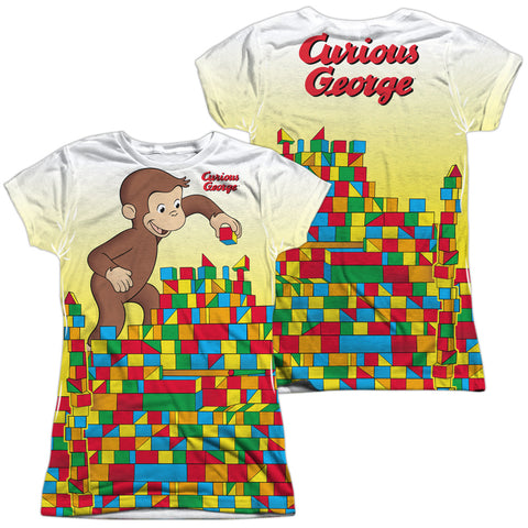 Curious George Building Blocks (Front/Back Print) Junior's Poly Cap-Sleeve T