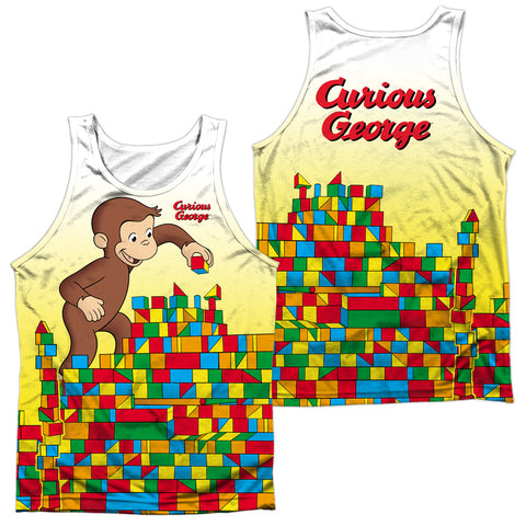 Curious George Building Blocks (Front/Back Print) Men's Regular Fit Polyester Tank Top