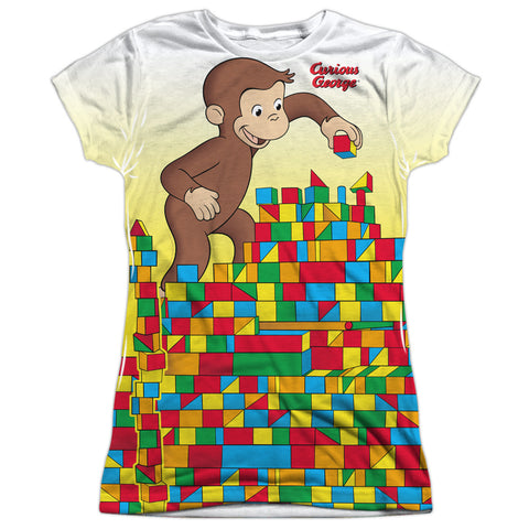 Curious George Building Blocks Junior's Poly Cap-Sleeve T