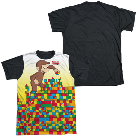 Curious George Building Blocks Men's Black Back Regular Fit Poly SS T