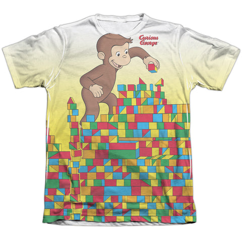 Curious George Building Blocks Men's Regular Fit Poly Cotton SS T