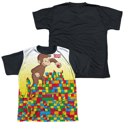 Curious George Building Blocks Youth Black Back Poly Regular Fit SS T