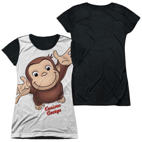 Curious George Hands In The Air Junior's Black Back Poly Cap-Sleeve T