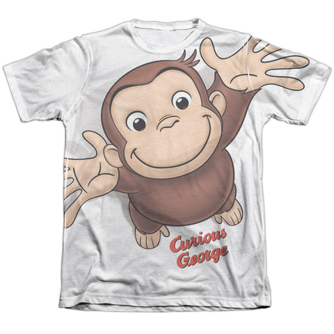 Curious George Hands In The Air Men's Regular Fit Poly Cotton SS T
