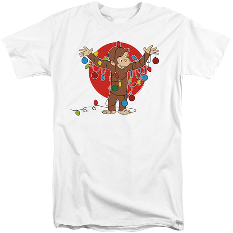 Curious George Lights Men's 18/1 Tall Cotton SS T