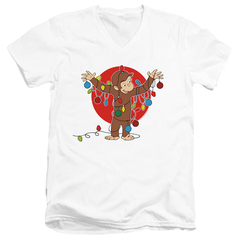 Curious George Lights Men's 30/1 Cotton Slim V-Neck T