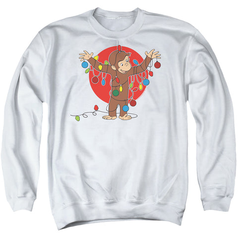 Curious George Lights Men's Crewneck 50 50 Poly LS T