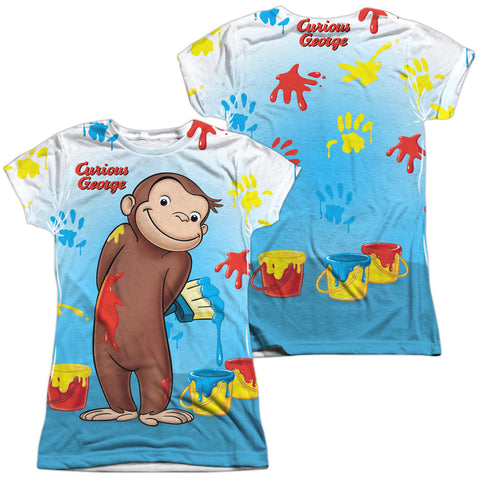Curious George Paint All Over (Front/Back Print) Junior's Poly Cap-Sleeve T