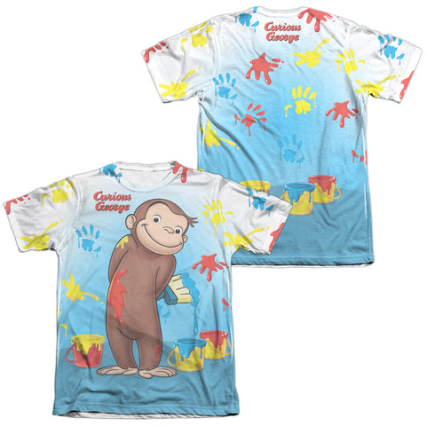 Curious George Paint All Over (Front/Back Print) Men's Regular Fit Poly Cotton SS T