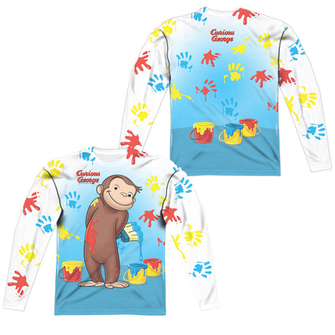 Curious George Paint All Over (Front/Back Print) Men's Regular Fit Polyester LS T