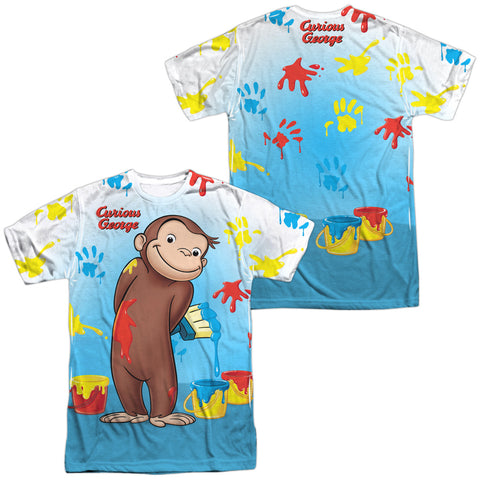 Curious George Paint All Over (Front/Back Print) Men's Regular Fit Polyester SS T